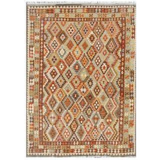 Herat Oriental Afghan Hand-woven Tribal Wool Kilim (6'8 x 9'4)