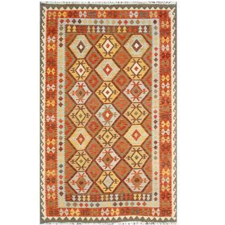 Herat Oriental Afghan Hand-woven Tribal Kilim Rust/ Beige Wool Rug (6'4 x 9'8)