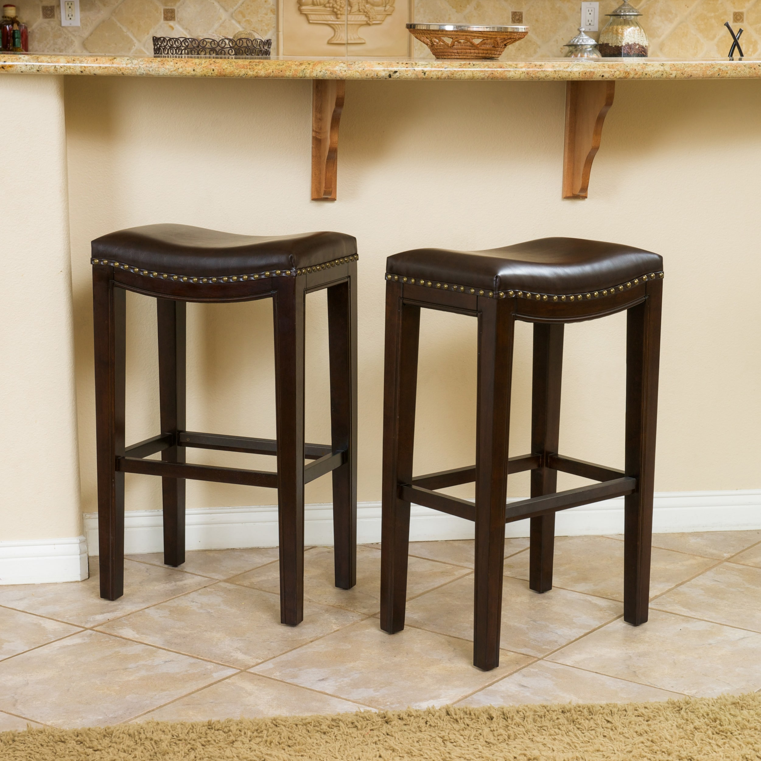 Magnificent Christopher Knight Home Avondale 30 Brown Bonded Leather Backless Bar Stool Set Of 2 Inzonedesignstudio Interior Chair Design Inzonedesignstudiocom