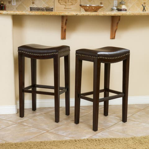 Avondale Brown Bonded Leather Bar Stool (Set of 2) by Christopher Knight Home