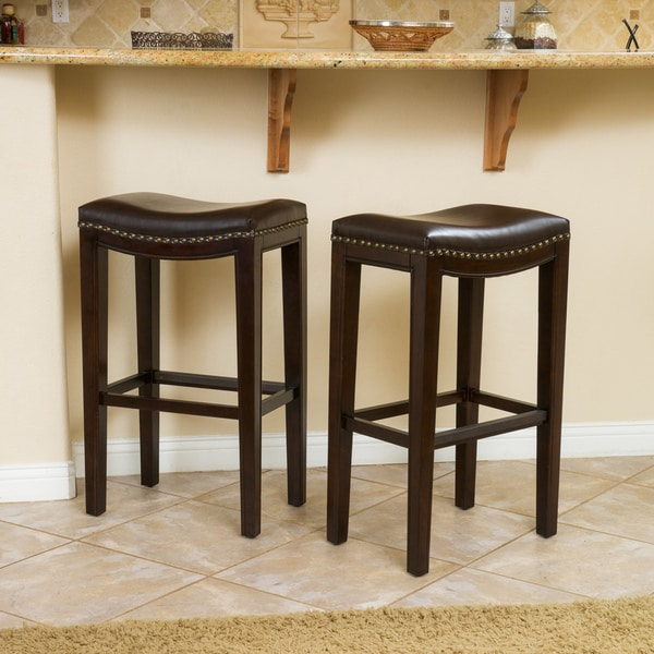 leather counter stools backless shop christopher home avondale 30 quot brown bonded 6890