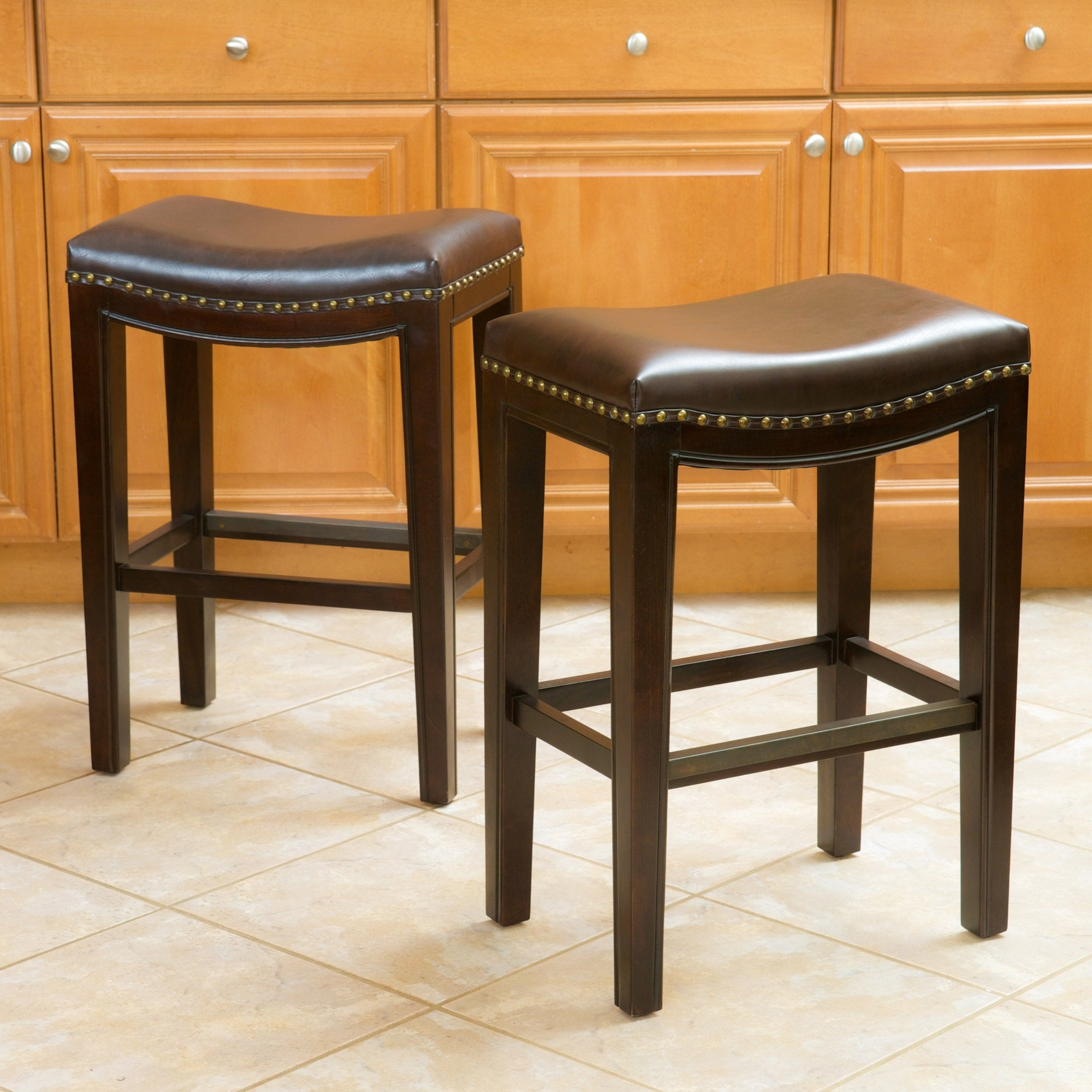 Phenomenal Avondale 26 Inch Brown Bonded Leather Backless Counter Stool Set Of 2 By Christopher Knight Home Gmtry Best Dining Table And Chair Ideas Images Gmtryco