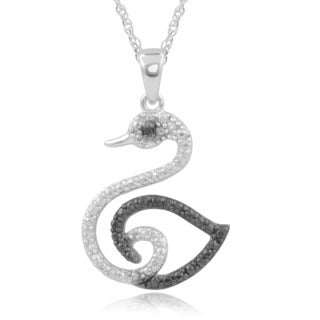 Journee Collection Sterling Silver Black Diamond Accent Swan Pendant