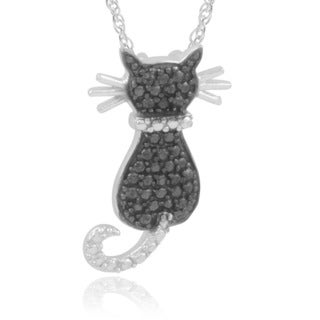 Journee Collection Sterling Silver Black Diamond Accent Cat Pendant