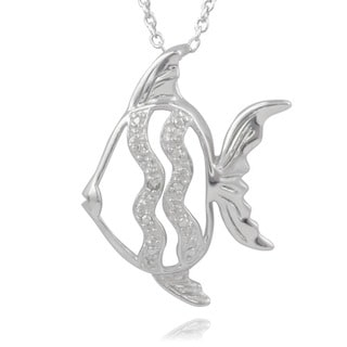 Journee Collection Sterling Silver Diamond Accent Fish Pendant