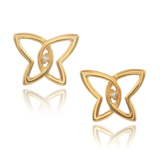 Journee Collection Goldtone Sterling Silver Diamond Accent Butterfly Stud Earrings