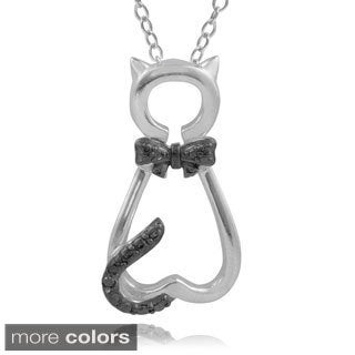 Journee Collection Sterling Silver Diamond Accent Cat Necklace