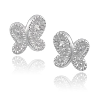 Journee Collection Sterling Silver Diamond Accent Butterfly Stud Earrings