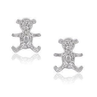 Journee Collection Sterling Silver Diamond Accent Bear Stud Earrings