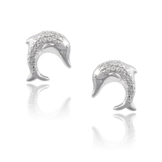 Journee Collection Sterling Silver Diamond Accent Fish Stud Earrings