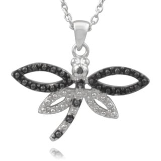 Journee Collection Sterling Silver Black Diamond Accent Dragonfly Pendant
