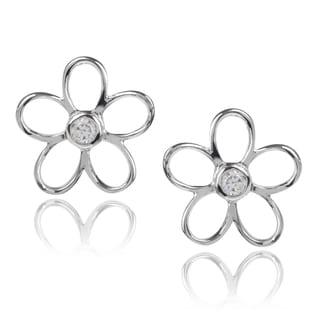 Journee Collection Sterling Silver Cubic Zirconia Flower Stud Earrings