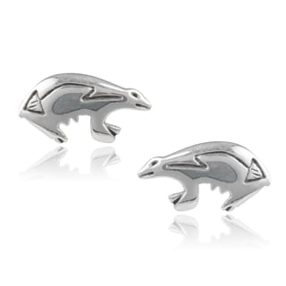 Journee Collection Sterling Silver Handcrafted Bear Stud Earrings