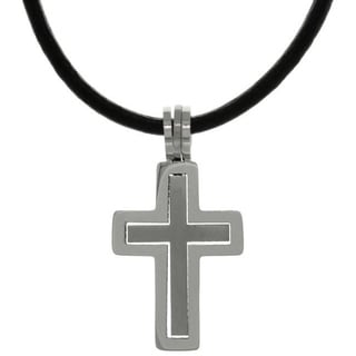 Carolina Glamour Collection Stainless Steel Two-piece Double Cross Pendant on Black Leather Necklace