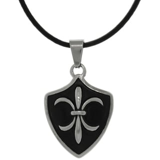 Carolina Glamour Collection Stainless Steel Fleur De Lis Shield Pendant on Black Leather Necklace