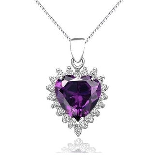 Carolina Glamour Collection Sterling Silver Created Amethyst and CZ Heart Pendant on 18 Inch Box Chain Necklace