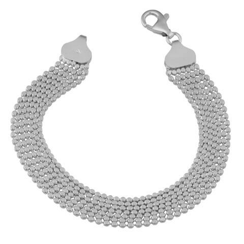 Argento Italia Sterling Silver Fashionable High Polish Seven Strand Bead Bracelet