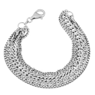 Argento Italia Rhodium-plated Sterling Silver High Polished Multi Link Strand Bracelet