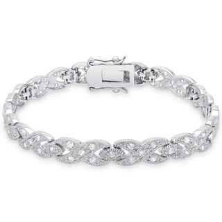 Dolce Giavonna Sterling Silver Cubic Zirconia 'XO' Bracelet