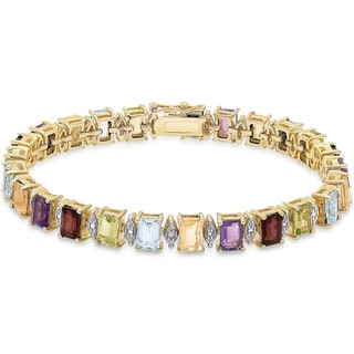 Dolce Giavonna Gold over Sterling Silver Emerald-cut Multi Gemstone Diamond Accent Bracelet