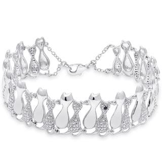 Dolce Giavonna Silver Overlay Cat Bracelet