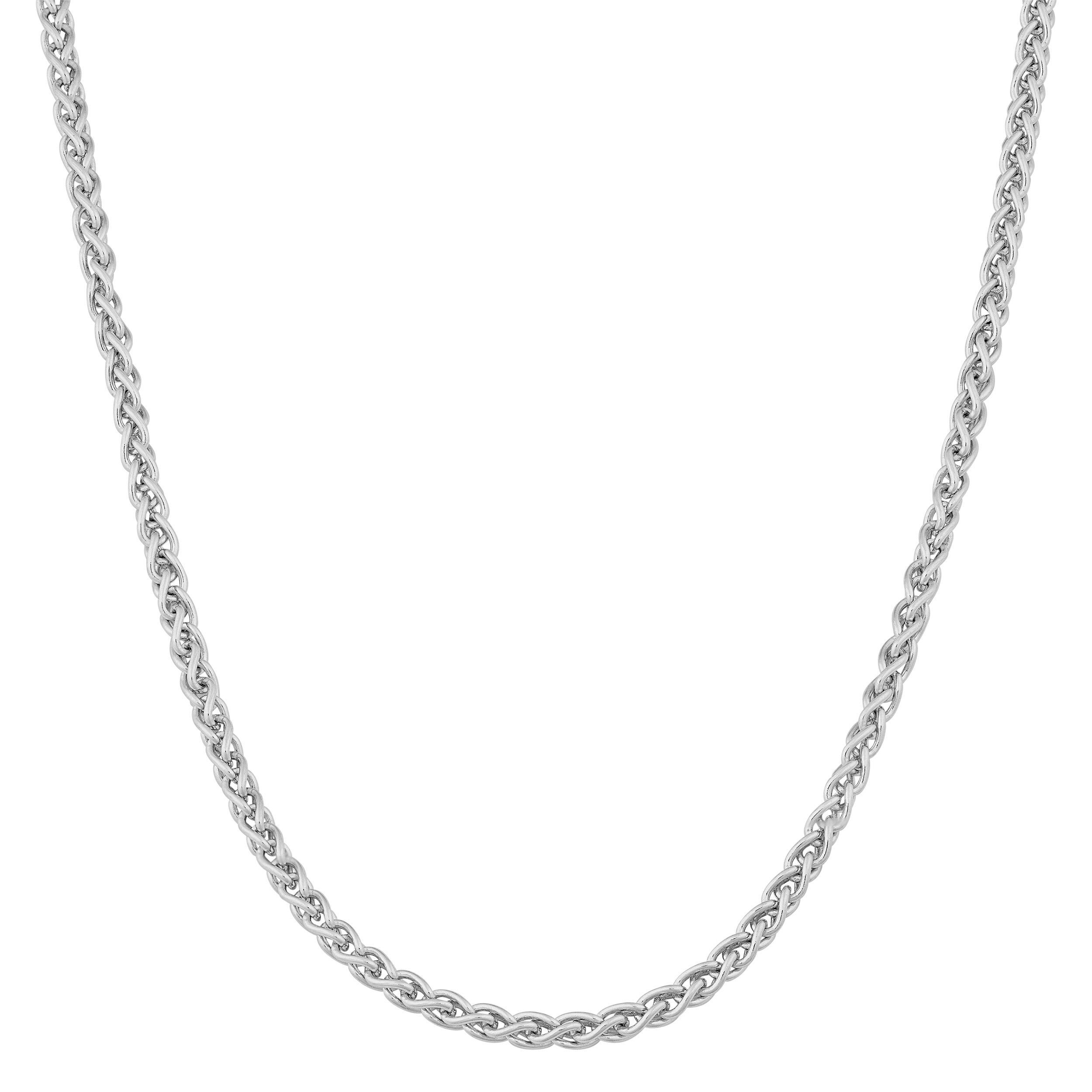 Sterling Silver With Rhodium Finish Necklace With Lobster Clasp 18 Inch