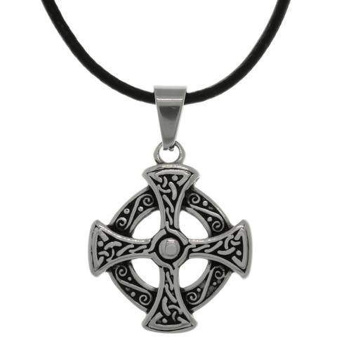 Carolina Glamour Collection Stainless Steel Celtic Solar Cross Circle of Life Symbol Leather Necklace