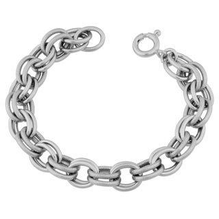 Argento Italia Sterling Silver Stylish Alternate High Polish and Textured Double Link Bracelet