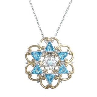 Michael Valitutti Palladium Silver Blue Topaz White Zircon and Sapphire Pendant