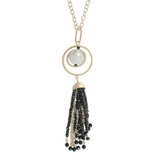 Michael Valitutti Gold over Silver Rutilated Quartz Onyx Tassel Necklace