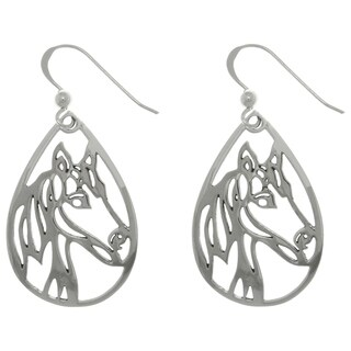 Carolina Glamour Collection Sterling Silver Horse Profile Teardrop Dangle Earrings