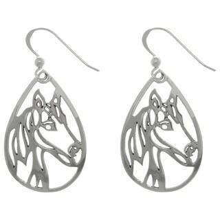 Sterling Silver Horse Profile Teardrop Dangle Earrings|https://ak1.ostkcdn.com/images/products/9916149/P17073711.jpg?_ostk_perf_=percv&impolicy=medium