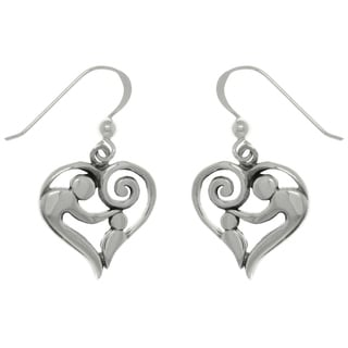 Sterling Silver Mom and Baby Heart Dangle Earrings