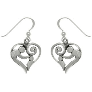 Carolina Glamour Collection Sterling Silver Mom and Baby Heart Dangle Earrings