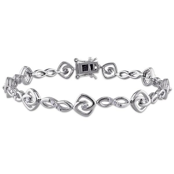Miadora Sterling Silver 1/2ct TDW Diamond Infinity Bracelet