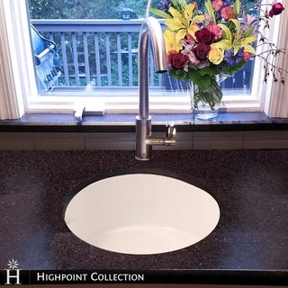 Highpoint Collection White Single Bowl Round Fireclay Island, Bar or Butlers Pantry Sink