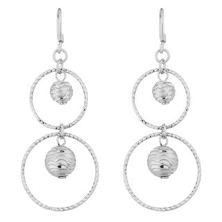 Argento Italia Sterling Silver Diamond-cut Graduated Dangle Earrings