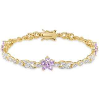 Dolce Giavonna Gold over Sterling Silver Diamond Accent Gemstone Flower Bracelet