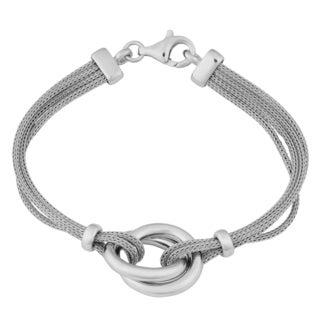 Argento Italia Sterling Silver Stylish Interlocking Circles and Multi-strand Wheat Chain Bracelet