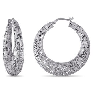 Miadora Signature Collection 18k White Gold Filigree Hoop Earrings