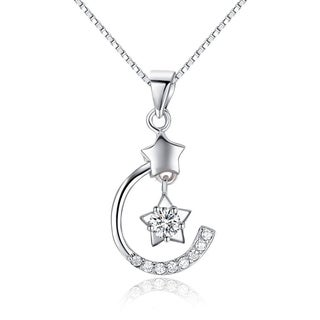 Carolina Glamour Collection Sterling Silver and CZ Celestial Moon and Star Pendant on 18 Inch Box Chain Necklace