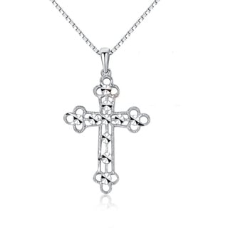 Carolina Glamour Collection Sterling Silver Cross Pendant with Sparkling Disc Accents on 18 Inch Box Chain Necklace