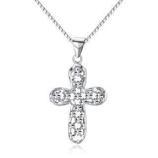 Sterling Silver Cross Pendant with Sparkling Star Pattern on 18 Inch Box Chain Necklace