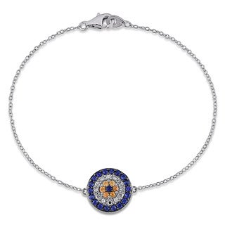 Miadora Sterling Silver Yellow And Blue Sapphire Diamond Accent Bracelet