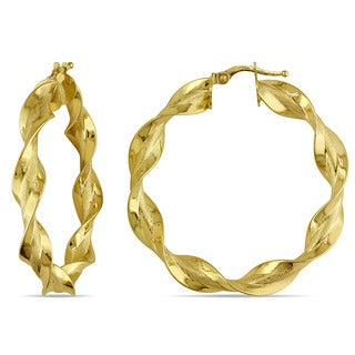 Miadora 10k Yellow Gold Twisted Hoop Earrings