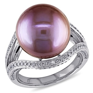 Miadora Signature Collection 14k White Gold Pink Freshwater Pearl 3/4ct TDW Diamond Ring (G-H, SI1-SI2) (13.5-14 mm)