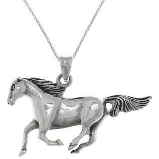 Sterling Silver Running Mustang Horse Pendant on 18 Inch Box Chain Necklace
