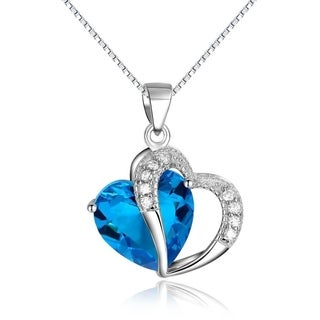 Carolina Glamour Collection Sterling Silver Blue White Cubic Zirconia Double Heart Necklace