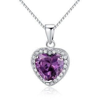 Sterling Silver Created Purple Amethyst Heart Pendant w Pave CZ Crystals, 18-in Box Chain Necklace