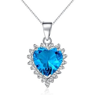 Sterling Silver Created Blue Topaz Heart Pendant with Clear CZ Crystals on 18-in Box Chain Necklace